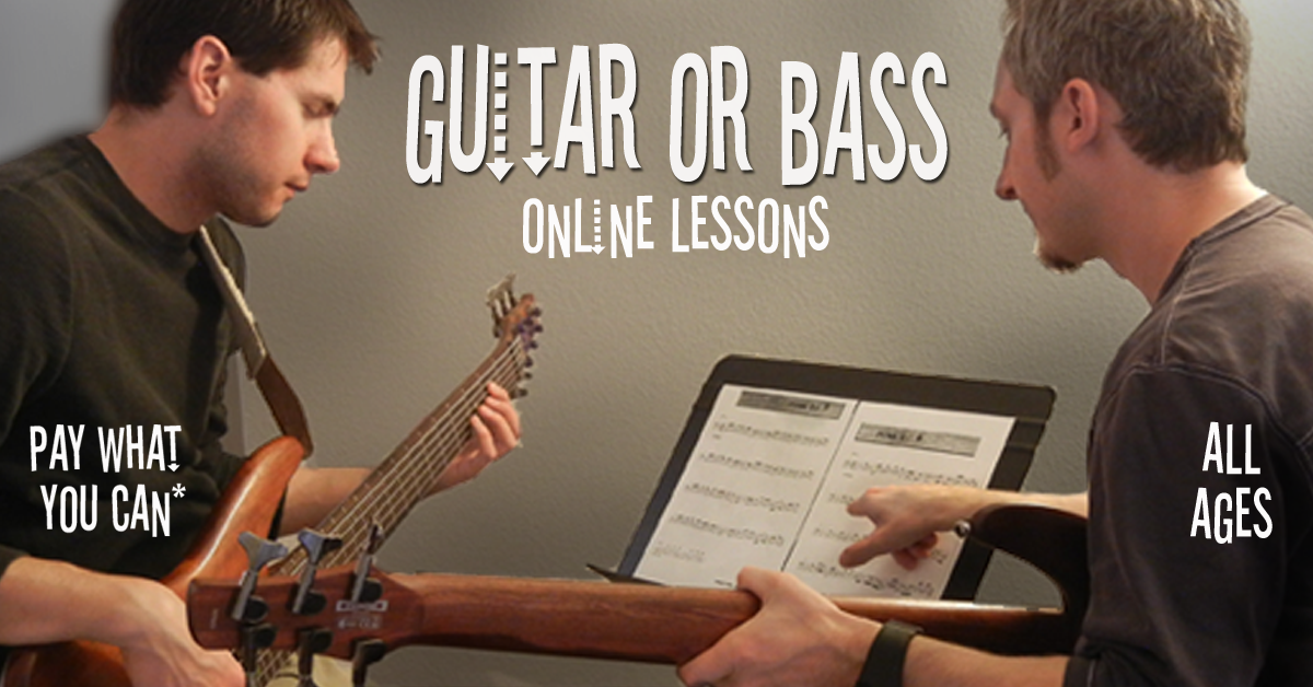 Adult taking bass guitar lesson from private instructor